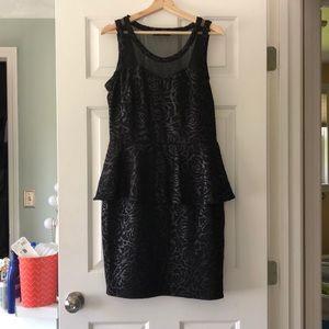 Black patterned peplum dress
